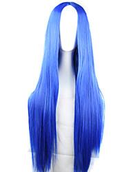 abordables -Pelucas sintéticas / Pelucas de Broma Recto Corte asimétrico Pelo sintético Entradas Naturales Azul Peluca Mujer Larga Sin Tapa