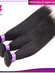 billige -3 Bundler Brasiliansk hår Lige / Klassisk Jomfruhår Menneskehår, Bølget Menneskehår Vævninger Menneskehår Extensions / Ret