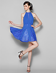 cheap -A-Line Jewel Neck Short / Mini Chiffon Lace Bridesmaid Dress with Lace by LAN TING BRIDE®