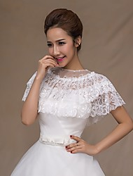 cheap -Sleeveless Lace Wedding Party Evening Wedding  Wraps With Rhinestone Lace Capelets