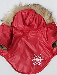 preiswerte -Katze Hund Mäntel Kapuzenshirts Hundekleidung Schneeflocke Rot Baumwolle Kostüm Für Haustiere Cosplay