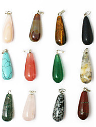 cheap -Beadia 24pcs Mixed Color Natural Gemstone Charm Pendant Beads 11x25mm Tear Drop Shape Stone Fit Pendant Necklaces