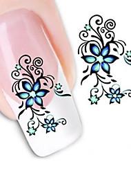 Недорогие -1 pcs 3D наклейки на ногти Наклейка для переноса воды маникюр Маникюр педикюр Цветы / Абстракция / Мода Повседневные / 3D-стикеры для ногтей