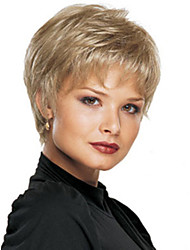 Women Nice Light Ash Blonde lady Straight Short synthetic hair wigs Free Shipping