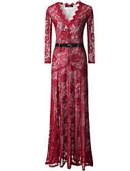 baratos -sexy v pescoço de manga comprida vestido de renda maxi das mulheres
