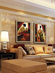 Oil Painting Decoration People Hand Painted Natural Linen with Stretched Framed - Set of 2