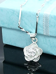 Women's Pendant Necklaces Flower Rose Sterling Silver Silver Plated Flower Style Flowers Floral Jewelry For