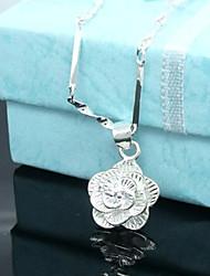 Недорогие -Женский Розы Цветы С цветами Цветочный дизайн Цветы Ожерелья с подвесками Стерлинговое серебро Серебрянное покрытие Ожерелья с подвесками