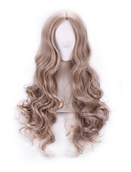 cheap -Wig For Women Female Cosplay Cinderella Pure Colour Synthetic Curly Wavy Wig Party Anime Rose Net Peruca Hair