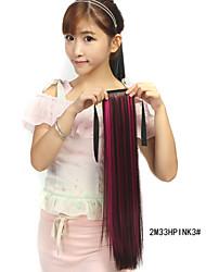 abordables -Corte Recto Sintético Pedazo de cabello La extensión del pelo 18 pulgadas Arco iris