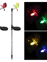 cheap -Pack of 2 Solar Fiber Optic Color-Changing Hummingbird Garden Stake Light Landscape Lighting Pathway Stairway