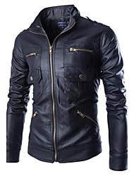 Men's Casual Long Sleeve Regular Jacket (Calfskin)