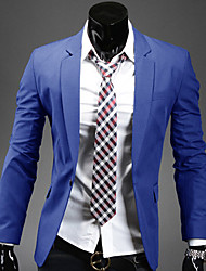 cheap -Men's Solid Work / Formal Blazer,Polyester / Cotton Blend Long Sleeve Black / Blue / Red