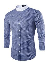 Masculino Camisa Casual / Escritório Xadrez Manga Comprida Poliéster Preto / Azul