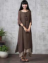 cheap -Women's Casual Micro-elastic ½ Length Sleeve Maxi Dress (Linen) (More Colors)