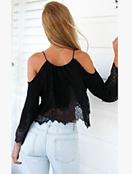 Women's Off The Shoulder/Lace Sexy Casual Lace Cute Plus Sizes Inelastic Long Sleeve Short Blouse (Chiffon/Lace)