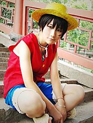 abordables -Inspirado por One Piece Monkey D. Luffy Animé Disfraces de cosplay Trajes Cosplay Retazos Sin Mangas Chalecos Pantalones cortos Para