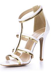 baratos -Mulheres Sapatos Couro Ecológico Verão Conforto Sandálias Salto Agulha Dedo Aberto para Casamento / Festas & Noite / Social Branco