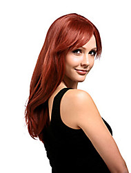 cheap -Synthetic Wig Straight With Bangs Side Part Red Women's Capless Carnival Wig Halloween Wig Medium Synthetic Hair