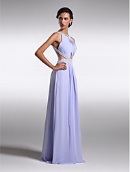 cheap -Sheath / Column Scoop Neck Floor Length Chiffon Prom / Formal Evening Dress with Beading Side Draping by TS Couture®