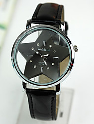 cheap -Women's  Watch The Hollow Transparent Double Glass Star Red Leather Strap Watch Cool Watches Unique Watches Fashion Watch
