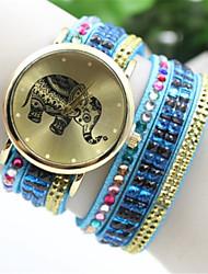 Недорогие -Gogo женщин пу аналоговые кварцевые группа случайные часы (разных цветов)