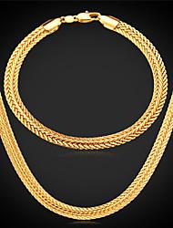 baratos -Chunky Conjunto de jóias - Chapeado Dourado Incluir Prata / Rosa / Dourado Para Casamento / Festa / Diário / Colares / Bracelete