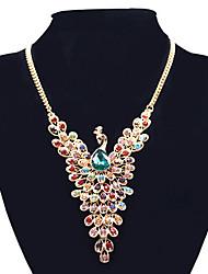 abordables -Femme Paon Strass Pendentif de collier Colliers Déclaration  -  Large Européen Paon Écran couleur Colliers Tendance Pour