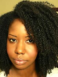 Недорогие -Натуральные волосы Бесклеевая кружевная лента Лента спереди Парик стиль Бразильские волосы Kinky Curly Парик 120% Плотность волос / Природные волосы / 100% ручная работа / с детскими волосами