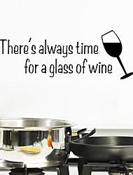 Недорогие -настенные наклейки Наклейки на стены стиль стакан вина английских слов&цитирует наклейки ПВХ стены