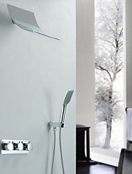 Contemporary Shower System Waterfall Handshower Included with  Ceramic Valve Two Handles Three Holes for  Chrome , Shower Faucet