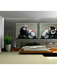 cheap -Hand-Painted Pop Art Horizontal, Classic Traditional Oil Painting Home Decoration Two Panels