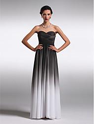 Vestido de dama de honra em gradiente de cor chiffon de comprimento do chão - bainha / coluna sem alças / corações com ts couture®