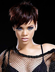 cheap -Short Human Hair 2.5-4inch Unprocessed Virgin Remy Brazilian hair machine made none lace Wigs