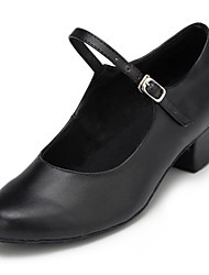 povoljno -Žene Moderna obuća Koža Cipele na petu / Štikle Niska potpetica Nemoguće personalizirati Plesne cipele Crna / Profesionalac
