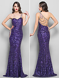 cheap -Mermaid / Trumpet One Shoulder Sweep / Brush Train Sequined / Jersey Beautiful Back / See Through Prom / Formal Evening Dress with Sequin / Crystals by TS Couture®