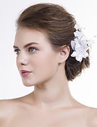 Women Satin Flowers With Imitation Pearl Wedding/Party Headpiece