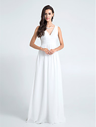 cheap -Sheath / Column V-neck Floor Length Chiffon Bridesmaid Dress with Pleats by LAN TING BRIDE®