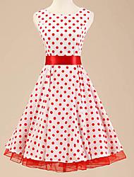Robe Aux femmes Trapèze Vintage / Soirée , Points Polka Bateau Au dessus du genou Coton / Polyester / Spandex