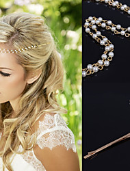 cheap -Gold Chain Layered Tassel  with Pearl Beads Strand Hair Head Chain Clip for Lady Casul Hair Jewelry