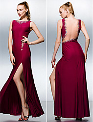 Sheath / Column Bateau Neck Floor Length Knit Formal Evening Dress with Beading by TS Couture®
