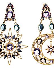 baratos -Mulheres Brincos Compridos Luxo Fashion Europeu Imitações de Diamante Liga MOON Jóias Jóias de fantasia
