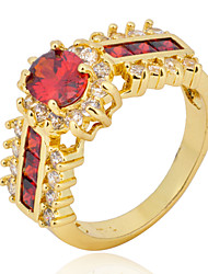 cheap -Size 6/7/8/9/10/11 High Quality Women Red Sapphire Rings 10KT Yellow Gold Filled Ring