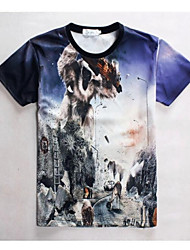 Masculino Camiseta Estampado Manga Curta Casual / Escritório / Esporte-Colorido