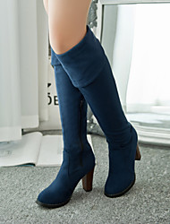 """cheap -Women's Shoes Leatherette Winter Fall Slouch Boots Chunky Heel 20""""or Taller (Approx.50.8cm or Taller) Over The Knee Boots for Casual"""