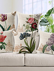 cheap -Set of 5 Country Style Flowers Patterned Cotton/Linen Decorative Pillow Cover