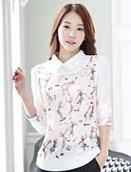 Women's Casual Pan Collar Print Long Sleeve Regular Blouse (Chiffon)