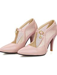 abordables -Mujer-Tacón Stiletto-Confort Tira en el Tobillo-Tacones-Oficina y Trabajo Informal Fiesta y Noche-Tul PU-Blanco Verde Rosa Almendra