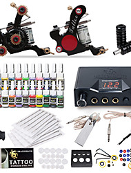 billige -Tattoo Machine Starter Sæt - 2 pcs Tattoo Maskiner med 20 x 5 ml tatoveringsfarver, Professionel LCD strømforsyning No case 2 x støbejern tatoveringsmaskine til optegning og skygge