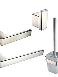 Bathroom Accessory Set Towel Ring Toilet Paper Holder Robe Hook Toilet Brush Holder Contemporary Stainless Steel Glass 23cm 46cm Towel